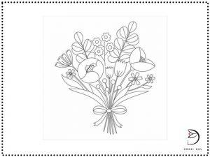 طرح خام گلدوزی گل