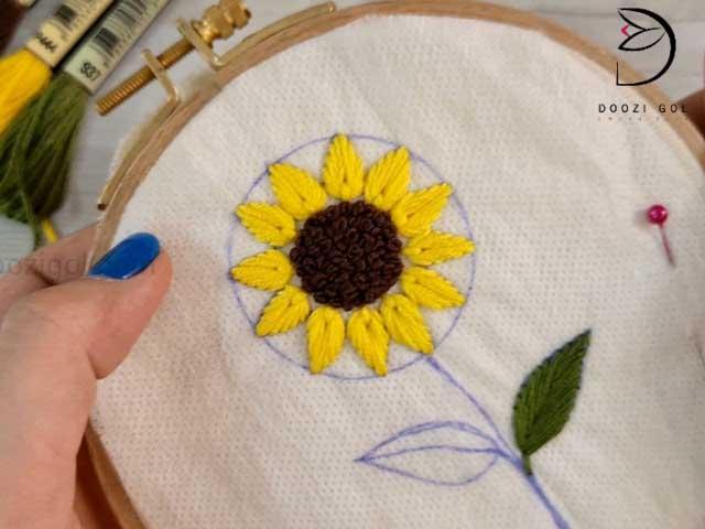 آموزش دوخت گل آفتاب گردان